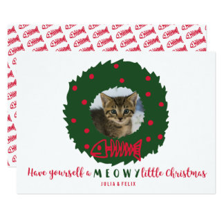 Funny Cat Christmas Wreath With Your Kitten Photo Card