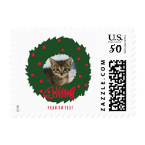 Funny Cat Christmas Wreath With Your Kitten Photo Postage