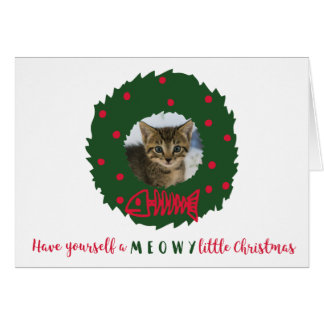 Funny Cat Christmas Wreath your Kitten's Photo Card