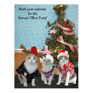 Funny Cat Coworkers/Office Party Postcards