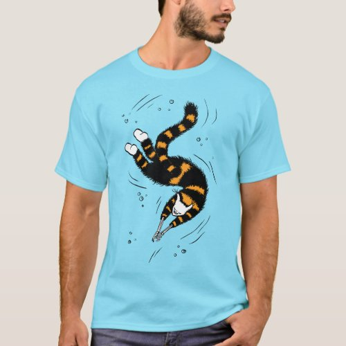 Funny Cat Creature With Skeleton Hands Swimming T_Shirt