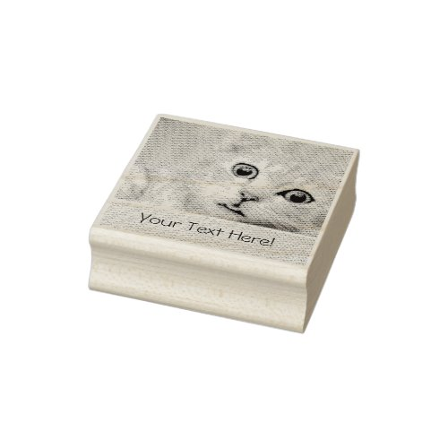 Funny Cat Custom Text Rubber Stamp