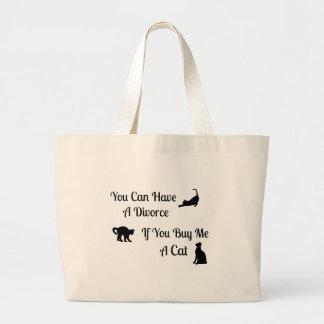 Funny Cat Divorce Jumbo Tote Bags
