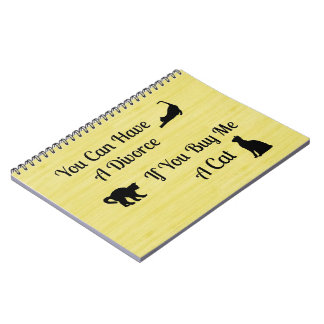 Funny Cat Divorce Spiral Notebook