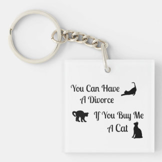 Funny Cat Divorce Square KeyChain
