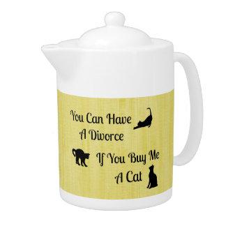 Funny Cat Divorce Teapot
