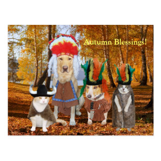 Funny Cat/Dog Indians for Autumn/Thanksgiving Postcard