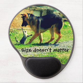 Funny cat&dog photo mausepad. Cat attacks dog Gel Mouse Pad