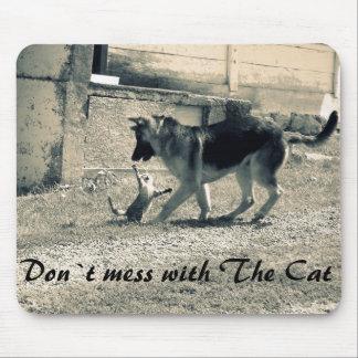 Funny cat&dog photo mausepad. Cat attacks dog. Mouse Pad