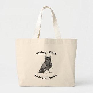 funny Cat doing Bird Large Tote Bag