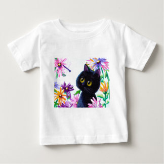 Funny Cat Dragonfly Daisies Creationarts Baby T-Shirt