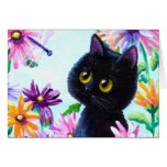 Funny Cat Dragonfly Daisies Creationarts Stationery Note Card