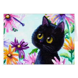 Funny Cat Dragonfly Daisies Creationarts Cards