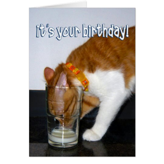 Funny Cat Drinking from Glass Happy Birthday Card – Drinking Birthday Cards