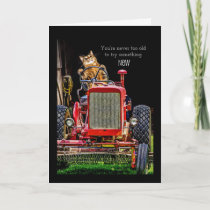 Funny Cat Driving Tractor Birthday Card
