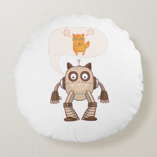 Funny Cat Engineering Scientist Robot Science Round Pillow