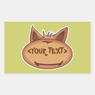 Funny Cat Face, <YOUR TEXT> Rectangular Sticker