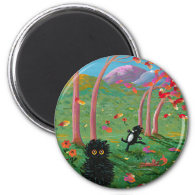 Funny Cat Fall Leaves Cartoon Creationarts Magnet