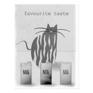 Funny Cat Favourite Taste Humorous Postcard