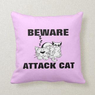 Funny Cat Feline Design Beware Attack Cat Pillows