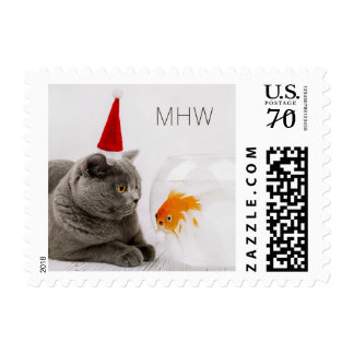 Funny Cat & Fish custom monogram postage stamps
