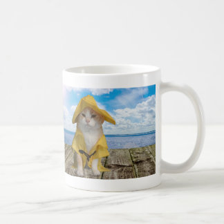 Funny Cat Fisherman in Yellow Slicker Coffee Mug