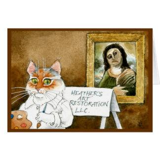 Funny cat fresco restoration Thank You card