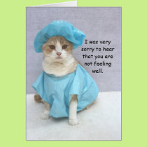 Funny Cat Get Well Card