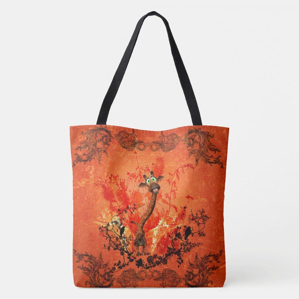 Funny cat giraffe tote bag