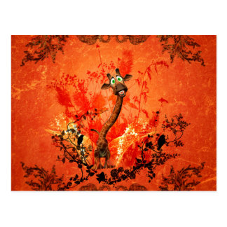 Funny cat giraffe with flowers on red background postcard