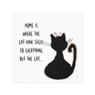 Funny Cat Hair Quote Cute Black Cat Silhouette Canvas Print