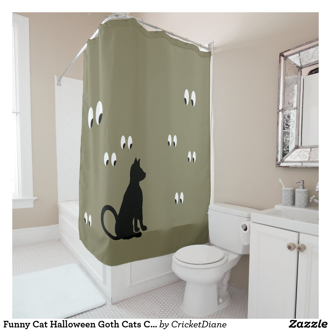Funny Cat Halloween Goth Cats CricketDiane Shower Curtain