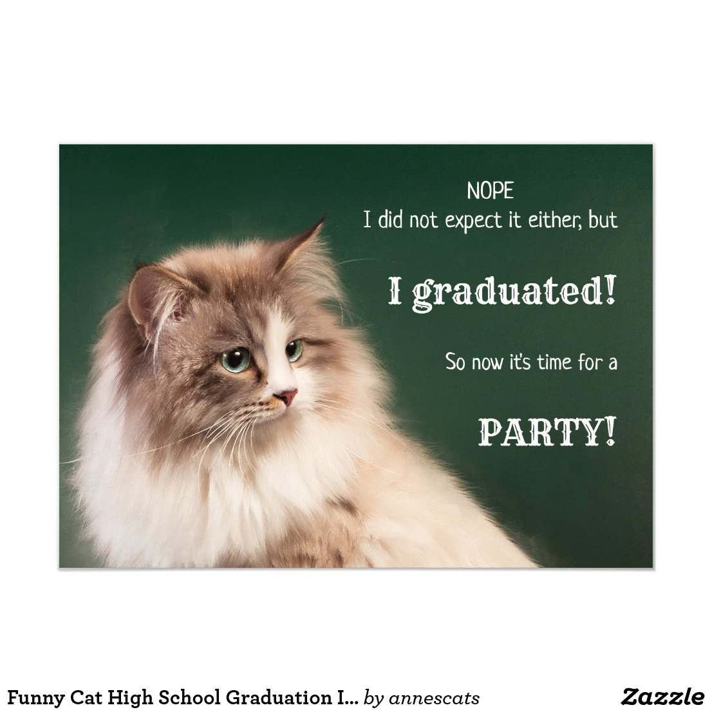 Funny Cat High School Graduation Invitation