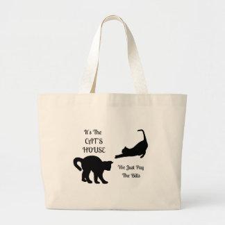 Funny Cat House Jumbo Tote Bag