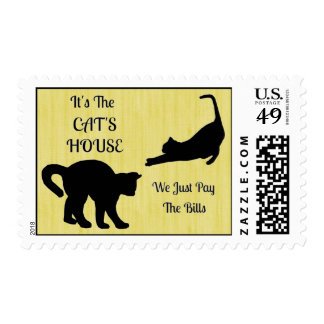 Funny Cat House Postage Stamps