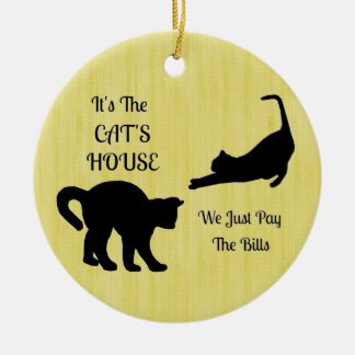 Funny Cat House Round Ornament