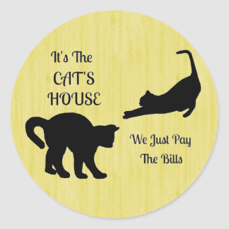 Funny Cat House Round Stickers