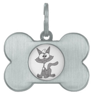 Funny Cat Illustration Pet Tags