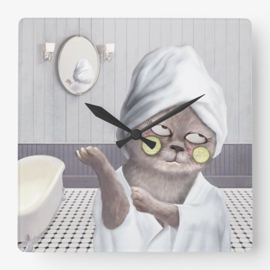 Funny Cat in Bathroom Square Wall Clock