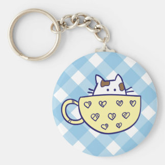 Funny cat in cup keychain