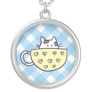 Funny cat in cup necklace
