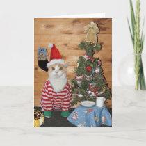 Funny Cat/Kitty Christmas Morning Holiday Card