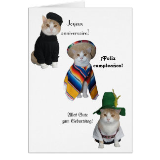 Funny Cat/Kitty Happy Birthday in Six Languages Card