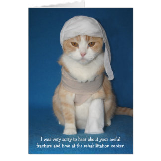 Funny Cat/Kitty in Cast 2nd Ver. Greeting Card