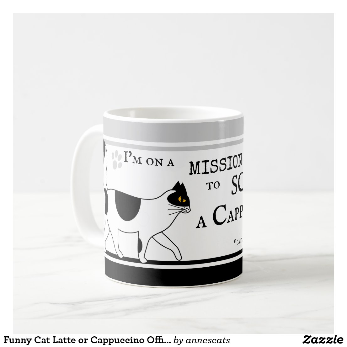 Funny Cat Latte or Cappuccino Office Mug