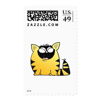 Funny cat laugh postage stamps