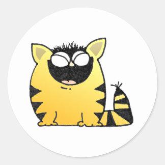 Funny cat laugh classic round sticker