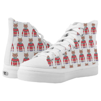 Funny Cat Lover Cat Wearing Ugly Christmas Sweater High-Top Sneakers