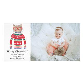 Funny Cat Lover Christmas Sweater Custom Photo Card