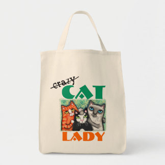 Funny Cat Lover's Grocery Tote Bag